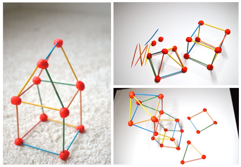 3D geometric shapes created using toothpicks and playdoh