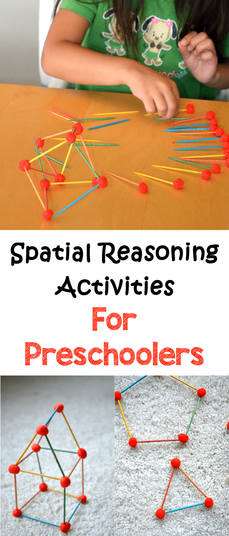 Child uses toothpicks and playdoh to make various 3D shapes, a spatial reasoning activities for preschoolers