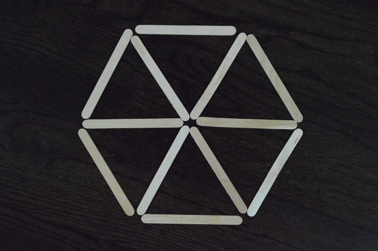Another spatial patterns using hexagon, made with craft sticks.