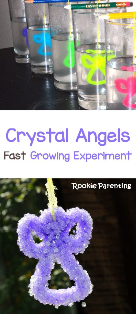 Make crystal angel experiment. Angel shaped pipe cleaners are hung inside glasses with borax water. Example of a finished purple crystal angel.