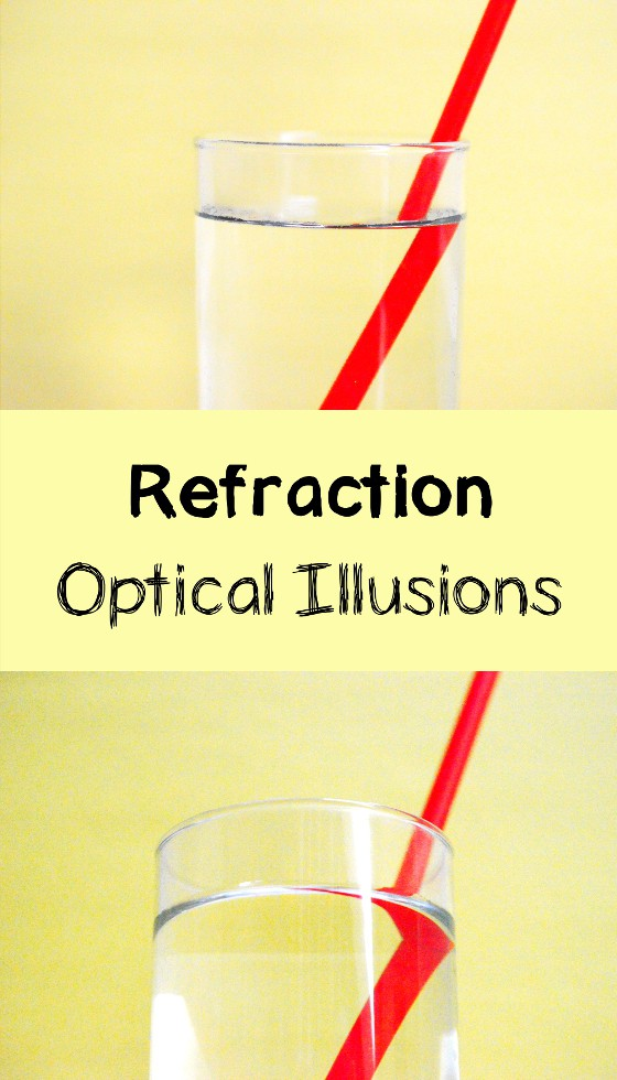 Red straws in glasses with water. Straws seem broken at the interface between water and air - Refraction of light SCIENCE EXPERIMENTS