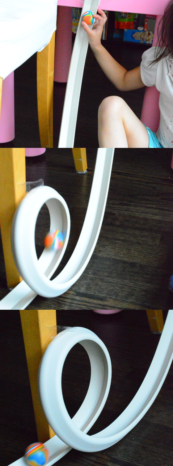 3 consecutive pictures of how a ball rolls down a loop built using edge guard | STEM Experiment