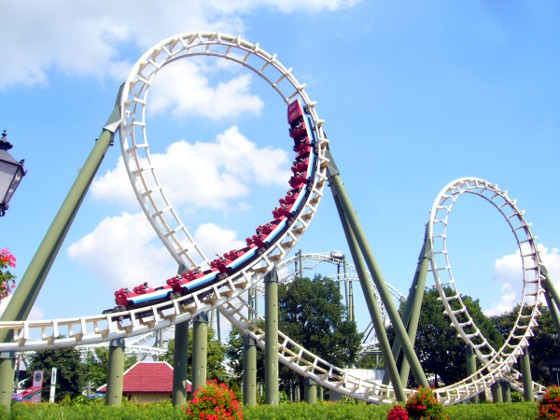 Roller coaster in theme park