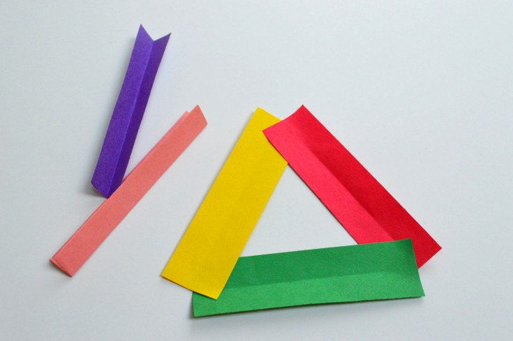 using the strips, form a triangle