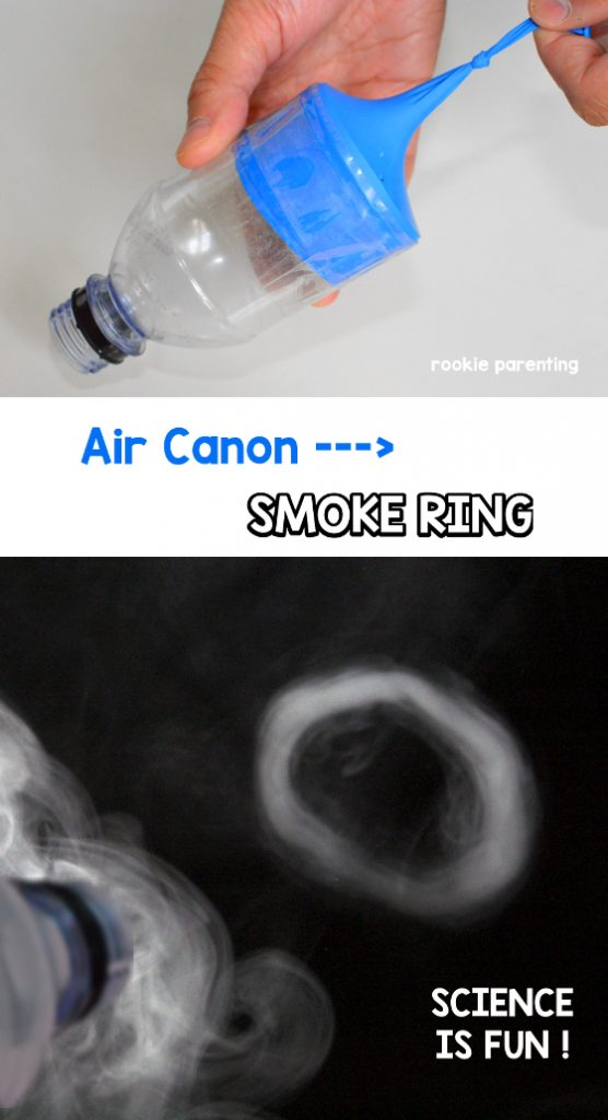 Finished air canon maker in hand. The produced smoke ring.