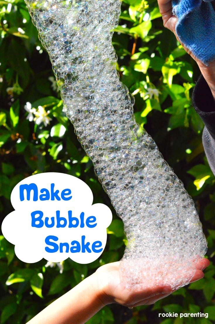 A snake of bubbles. Make a bubble snake Summer STEM activity