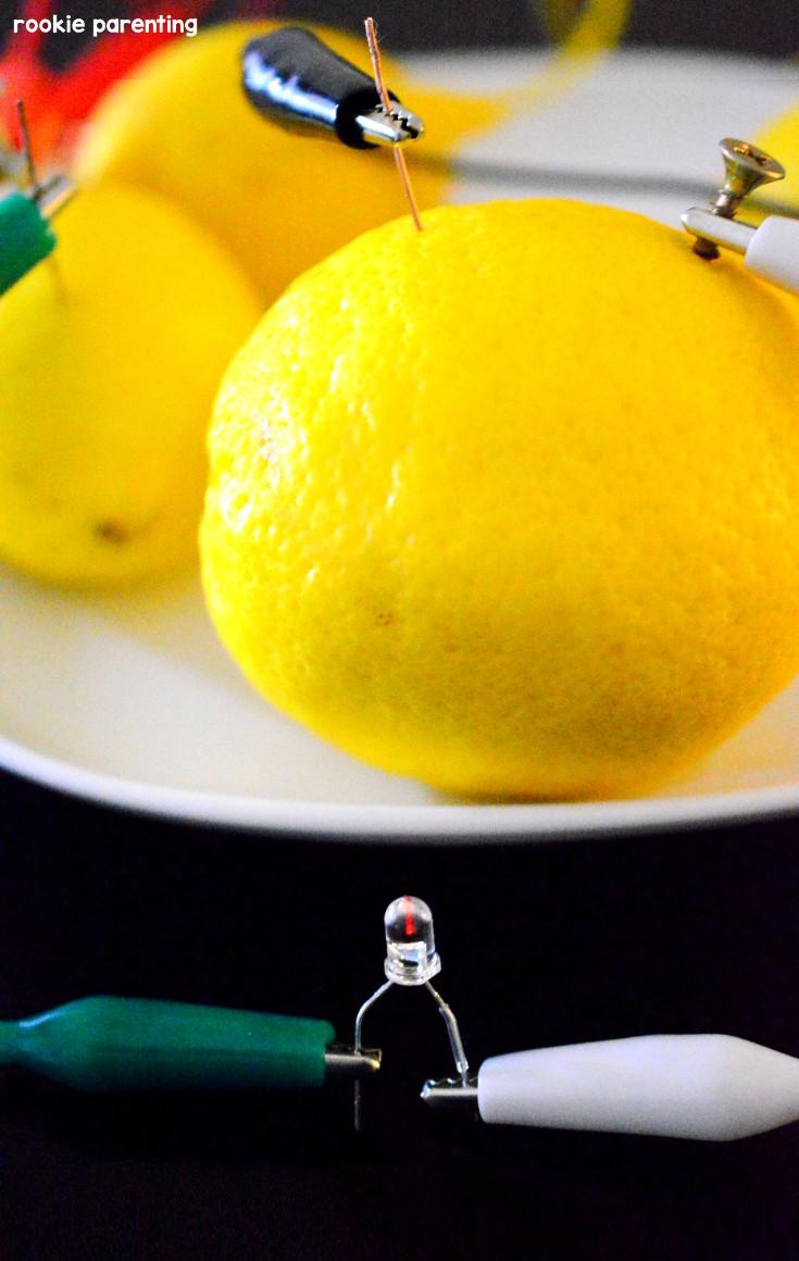 Using the lemon setup, LED is lit