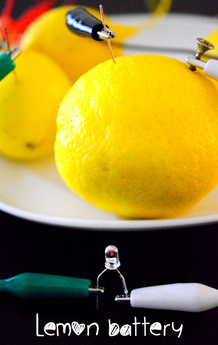LED is powered up with by a lemon! Homemade battery using lemons, nails and wires. It's so simple!
