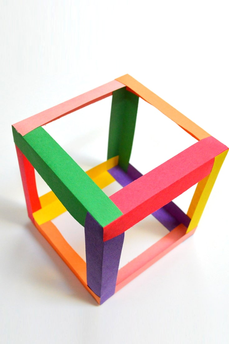 cube made with paper tubes