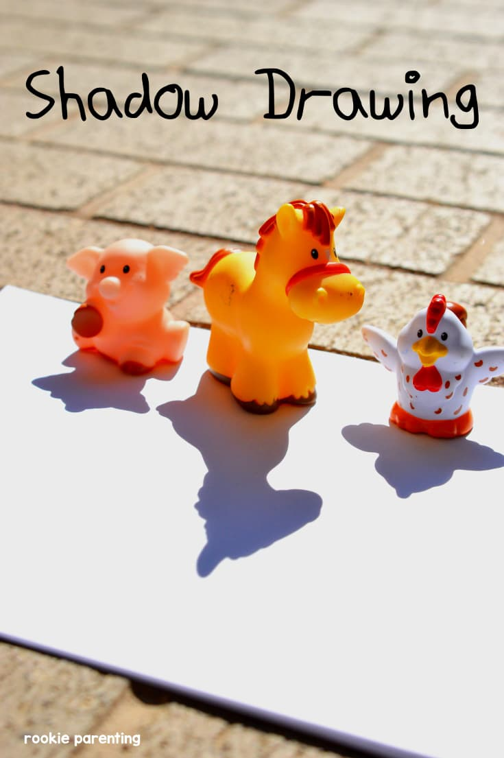 Toy pig, horse and chicken is placed on a paper which captures their shadows. See how light travels in a straight line.