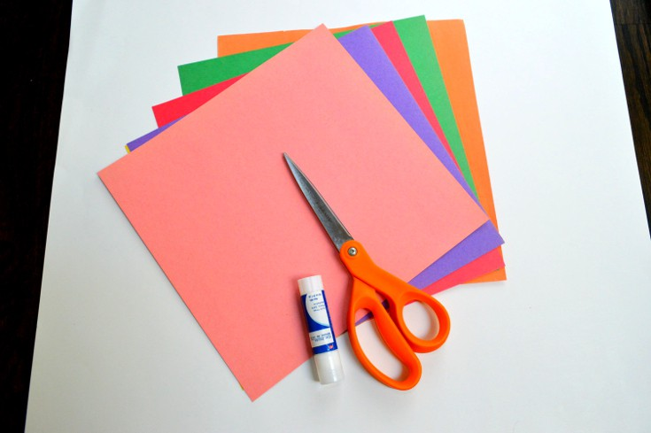 scissors, construction papers, glue