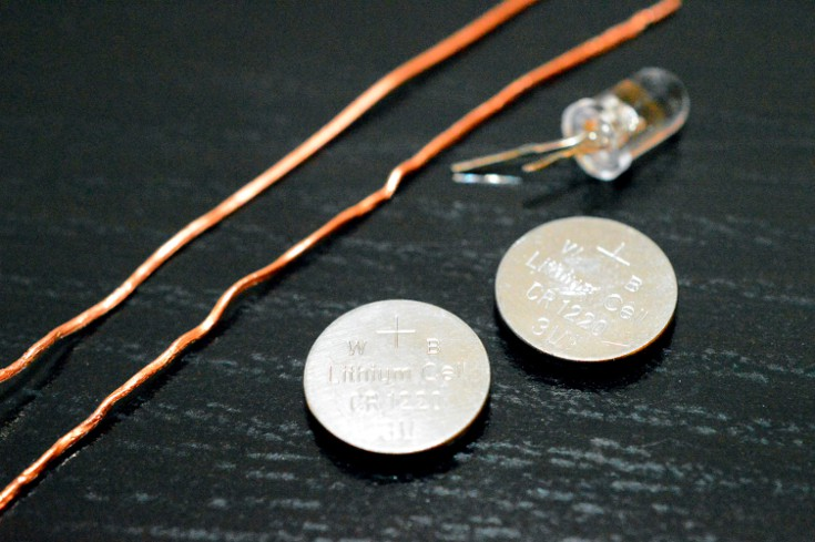 2 copper wires, a LED light, 2 batters, What you need to build a simple electric cicuit
