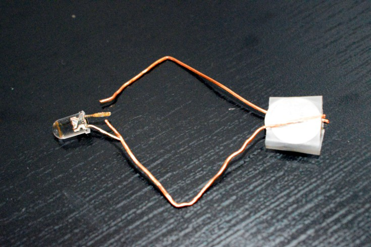 Connect the wires to the other side of the two copper wires in the above ensemble