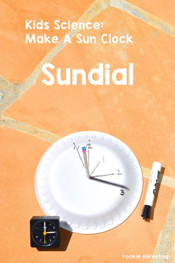learn how to use sunlight to make a sun clock sundial Science Activity using a paper plate, pencil, marker and a timer.