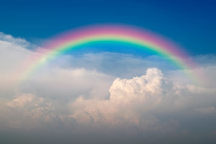 Rainbow over the top of cloud