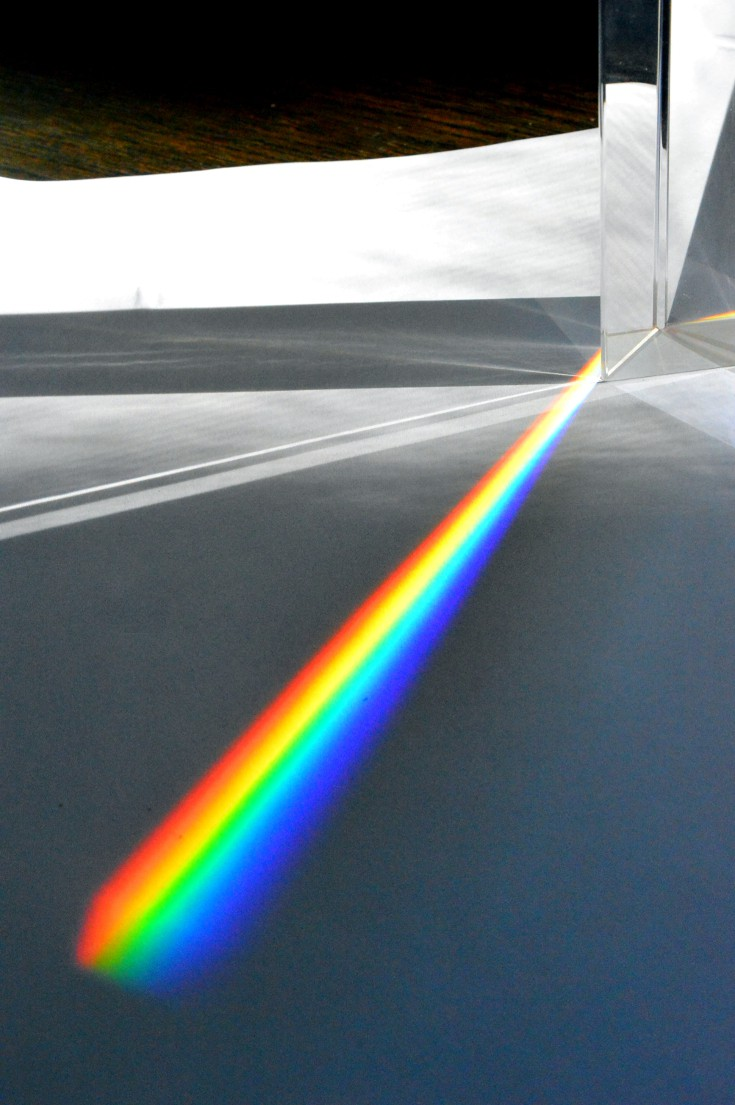 Why is the sky blue can be explained by rainbow color generated by light passing through a prism.